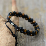 Men's Beaded Tigers Eye | Onyx Cord Stacking Bracelet