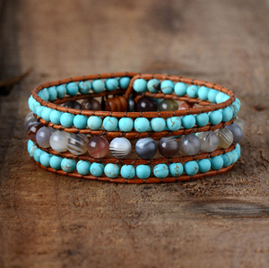 Natural Turquoise Stone Beaded Turquoise | Agate Cuff Leather Bracelet