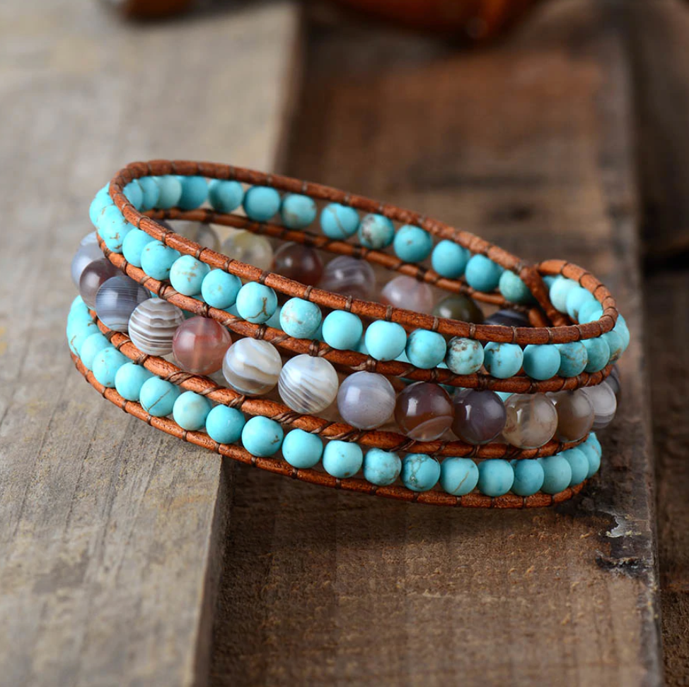 Natural Turquoise Stone Beaded Turquoise | Agate Cuff Leather Bracelet - Egret Jewellery