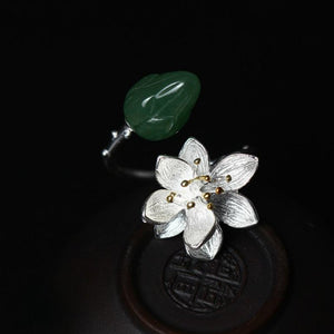 Sterling Silver Lotus Flower Jade Bud Leaf Lily Branch Wrap Ring