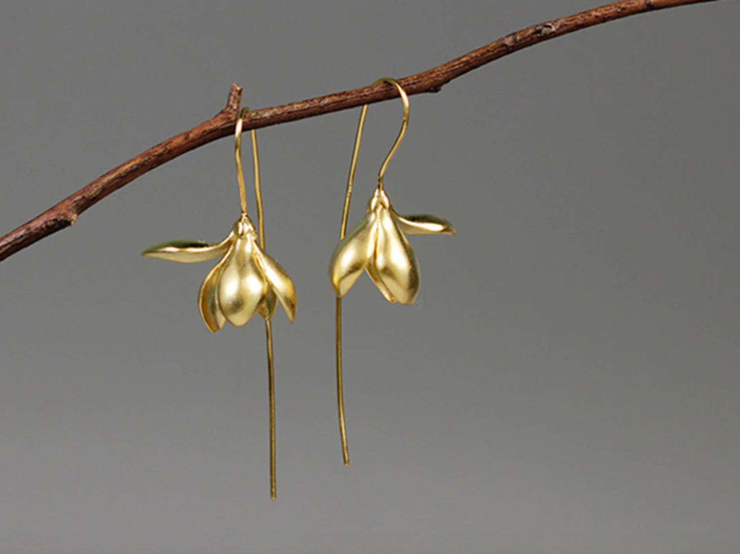 Solid 925 Sterling Silver Gold dipped Lily | Lotus Flower drop Hoop Earrings - Egret Jewellery