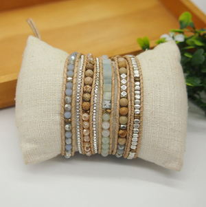 Natural Gemstone Amazonite Beaded Wrap | Cuff Bracelet - Egret Jewellery
