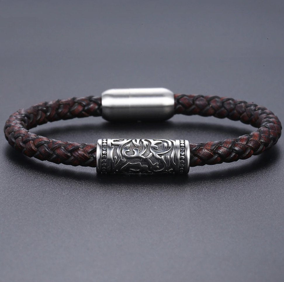 Men's Leather and Stainless Steel Thick Stacking Bracelet