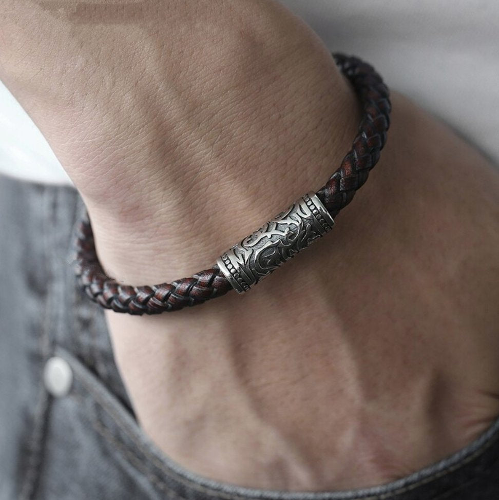 Men's Leather and Stainless Steel Thick Stacking Bracelet - Egret Jewellery