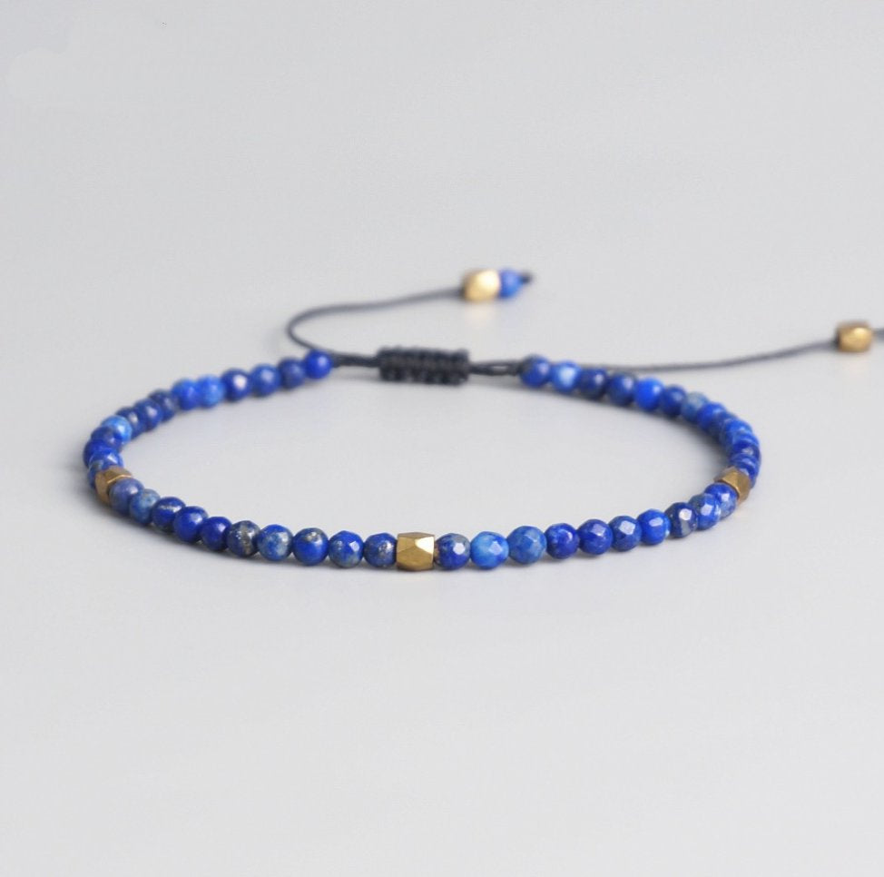 Natural Dark Blue Lapis Lazuli Beaded Stacking Friendship Bracelet - Egret Jewellery