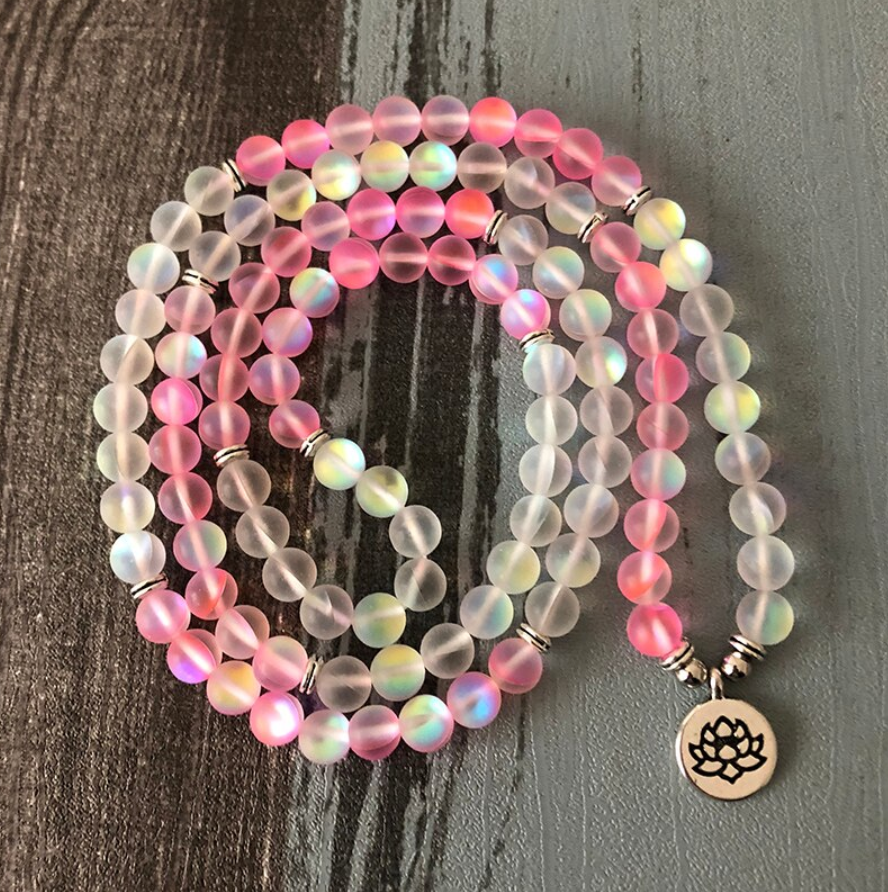 Mermaid Glass Beaded Wrap Bracelet, Mala Beads Necklace Yoga Gemstone Lotus Pink