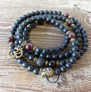 Black Onyx Men's Beaded Wrap Bracelet | Mala Beads Gemstone Buddha Om Necklace - Egret Jewellery