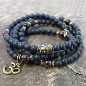 Black Onyx Men's Beaded Wrap Bracelet | Mala Beads Gemstone Buddha Om Necklace