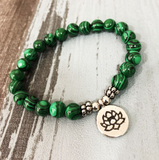 Natural Malachite Beaded Stacking | Friendship Bracelet Green Lotus Gemstone