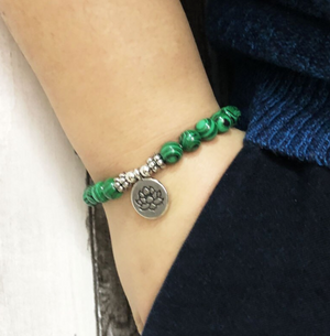 Natural Malachite Beaded Stacking | Friendship Bracelet Green Lotus Gemstone - Egret Jewellery