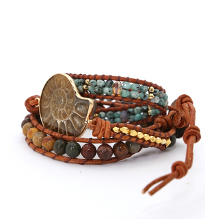 Natural Gemstone Jasper & Turquoise Beaded Ammonite Wrap Bracelet