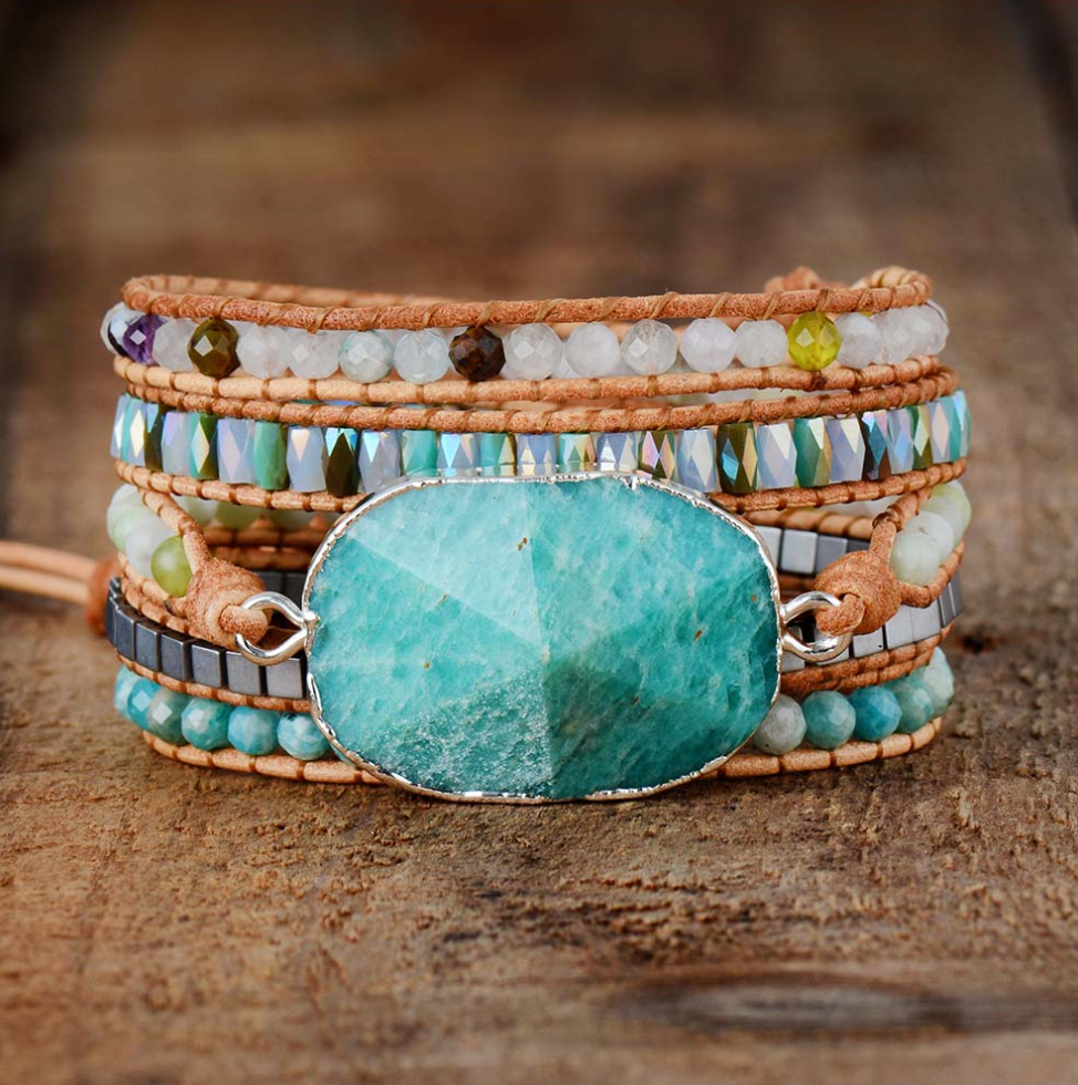 Amazonite Gilded Silver Turquoise Druzy Geode Beaded Wrap Bracelet | Cuff