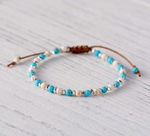 Natural Stone Bead Friendship Bracelet, Stacking Hematite Beaded White Turquoise - Egret Jewellery