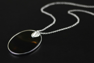 Sterling Silver Natural Agate Egret Pendant Necklace