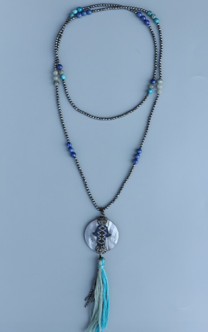 Natural Gemstone Beaded Hematite Lapis Lazuli Hamsa Mala Tassel Necklace Long - Egret Jewellery