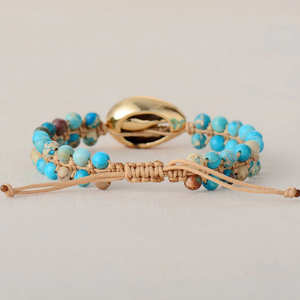 Natural Gemstone Shell Imperial Jasper Beaded Stacking Friendship Bracelet Blue