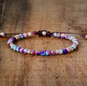 Natural Beaded Purple & Blue Impression Jasper Cord Stacking Friendship Bracelet - Egret Jewellery