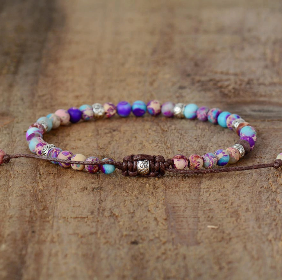 Natural Beaded Purple & Blue Impression Jasper Cord Stacking Friendship Bracelet