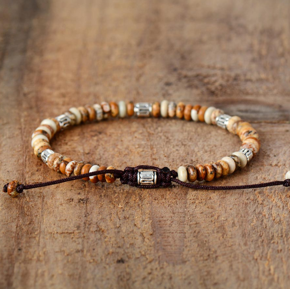 Men's Women's Beaded Jasper Brown Discs Stacking Bracelet Friendship Stacks - Egret Jewellery
