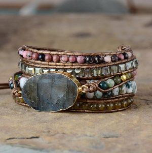 Natural Stone Beaded Labradorite Beads Druzy Wrap Bracelet Geode Moss Agate - Egret Jewellery