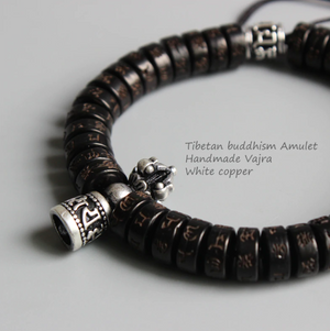 Tibetan Buddhist Lucky knots bracelet Men's Stacking Coconut Six True Words