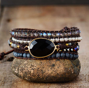 Natural Lava Rock Onyx Geode Tila Beads Beaded Wrap Bracelet Leather Cuff Black - Egret Jewellery