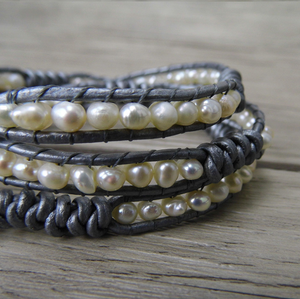 Genuine Freshwater Pearl Grey Leather Wrap Bracelet - Egret Jewellery