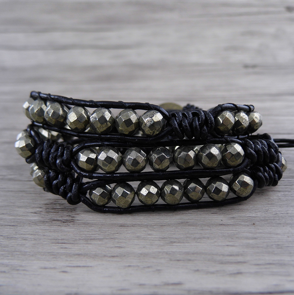 Natural Gold Pyrite Beaded Stone Cuff | Wrap Bracelet Stacking Men's Women's