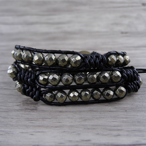 Natural Gold Pyrite Beaded Stone Cuff | Wrap Bracelet Stacking Men's Women's - Egret Jewellery