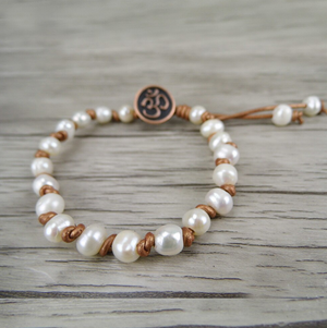 Natural Genuine Freshwater White Pearl Leather Stacking Bracelet Beaded Beads - Egret Jewellery