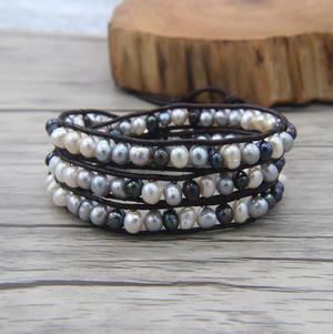Genuine Freshwater White | Grey | Black Pearl Leather Wrap Bracelet - Egret Jewellery