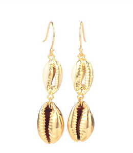 Natural Gold Cowrie Shell Drop Dangle Earrings
