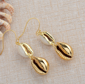 Natural Gold Cowrie Shell Drop Dangle Earrings - Egret Jewellery