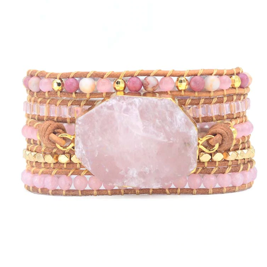 Natural Stone Rose Quartz | Rhodonite Geode Beaded Leather Pink Wrap Bracelet