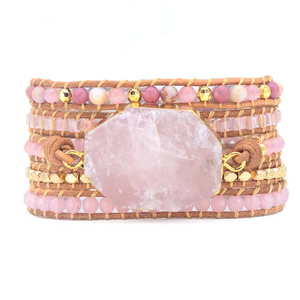 Natural Stone Rose Quartz | Rhodonite Geode Beaded Leather Pink Wrap Bracelet - Egret Jewellery