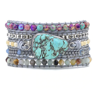 Natural Gemstone Turquoise & Amazonite Geode Beaded Leather Blue Wrap Bracelet - Egret Jewellery