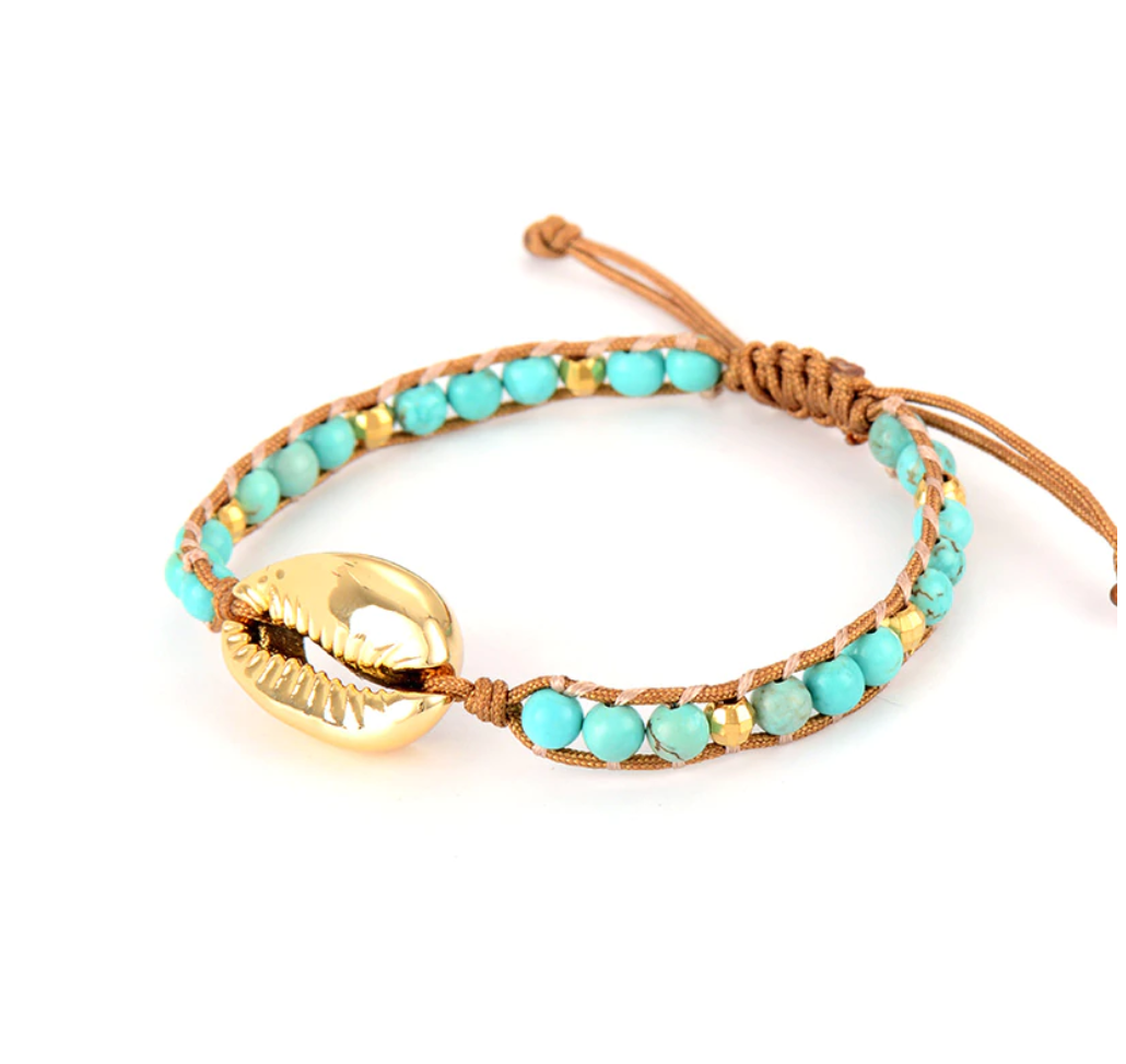 Natural Gemstone Shell Turquoise Beaded Stacking Friendship Bracelet