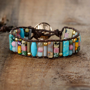 Natural Gemstone Beaded Cuff Bracelet Turquoise Jasper Leather Oblong