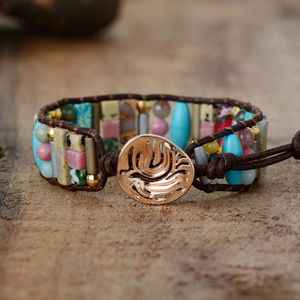 Natural Gemstone Beaded Cuff Bracelet Turquoise Jasper Leather Oblong - Egret Jewellery