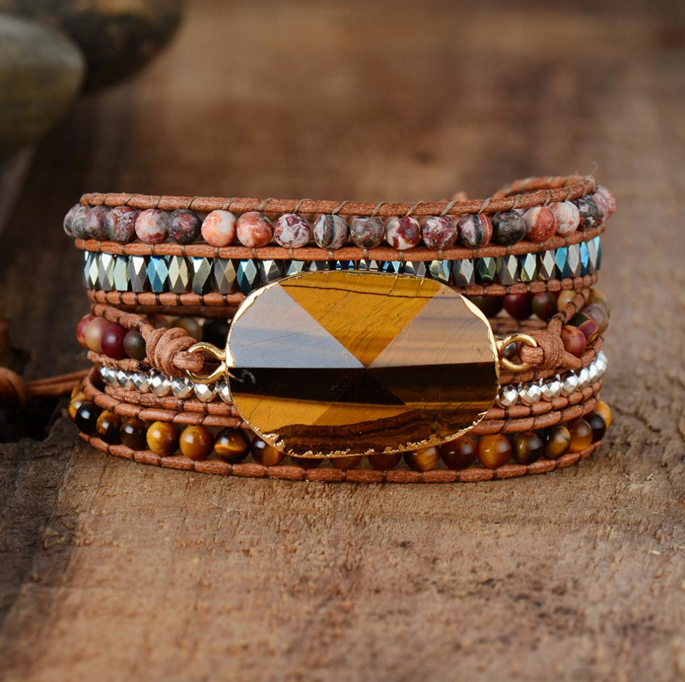 Natural Tiger's Eye Geode Gemstone Cuff Wrap Bracelet - Egret Jewellery