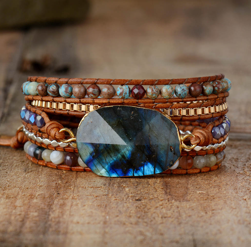 Natural Stone Beaded Labradorite Beads Druzy Wrap Bracelet - Egret Jewellery