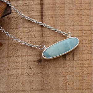Sterling Silver Plated Natural Amazonite Pendant Necklace
