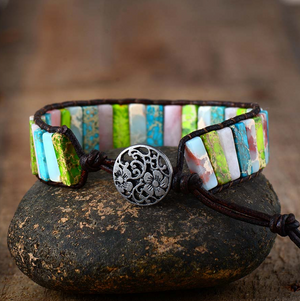 Natural Beaded Oblong Green Jasper | Rose Quartz Wrap | Cuff Leather Bracelet - Egret Jewellery