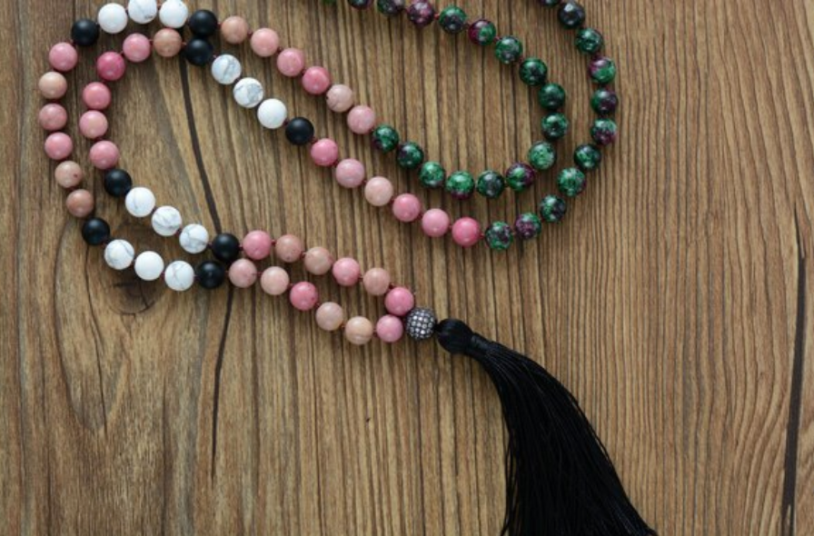 Long Natural Stone Beaded Mala Tassel Necklace Howlite | Ruby in Zoisite | Onyx - Egret Jewellery