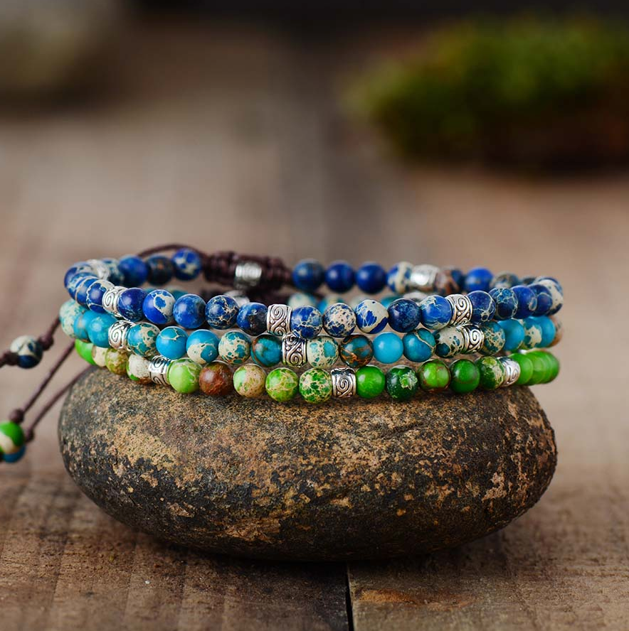 Natural Beaded Blue Impression Jasper Cord Stacking Friendship Bracelet