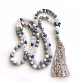 Natural Beaded Mala Necklace Pink Peruvian Opal Lapis Lazuli Rose Quartz Tassel - Egret Jewellery