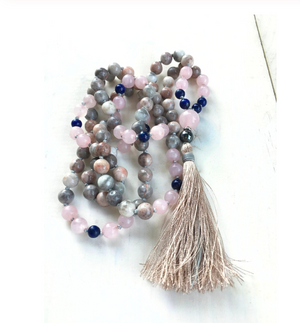 Natural Beaded Mala Necklace Pink Peruvian Opal Lapis Lazuli Rose Quartz Tassel