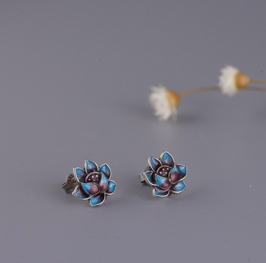 Natural Sterling Silver Lotus Flower Enamel Stud Earrings Boho Purple - Egret Jewellery