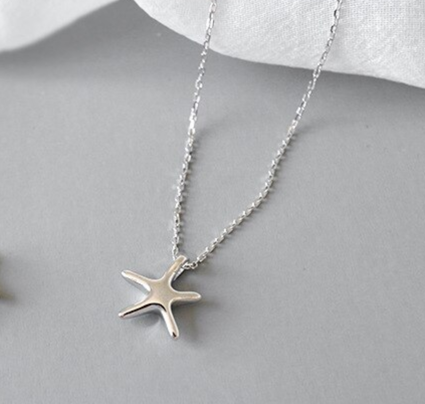 925 Sterling Silver Starfish Star Necklace Pendant Sea Beach Summer - Egret Jewellery