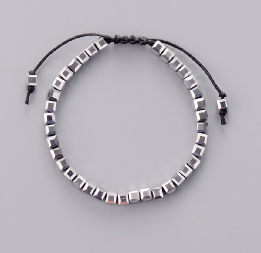 Silver Tila Beads Beaded Square Stacking Leather Friendship Bracelet - Egret Jewellery